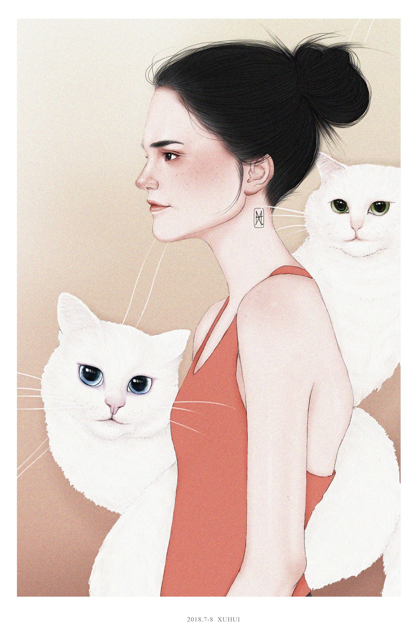 Drawing of a Beautiful Girl With Two White Cat