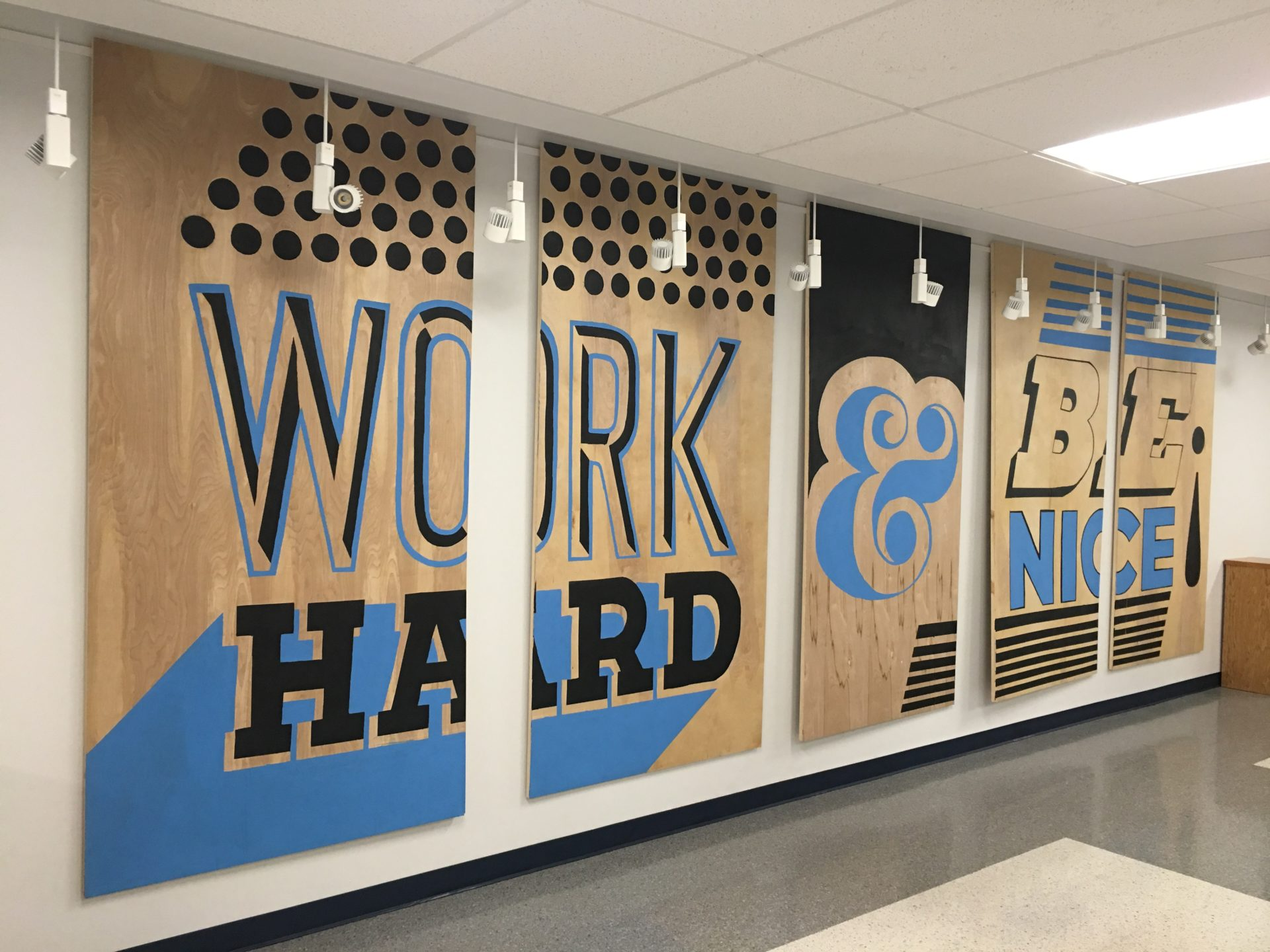 work hard, motivational, quote, lettering, hand-drawn, office mural