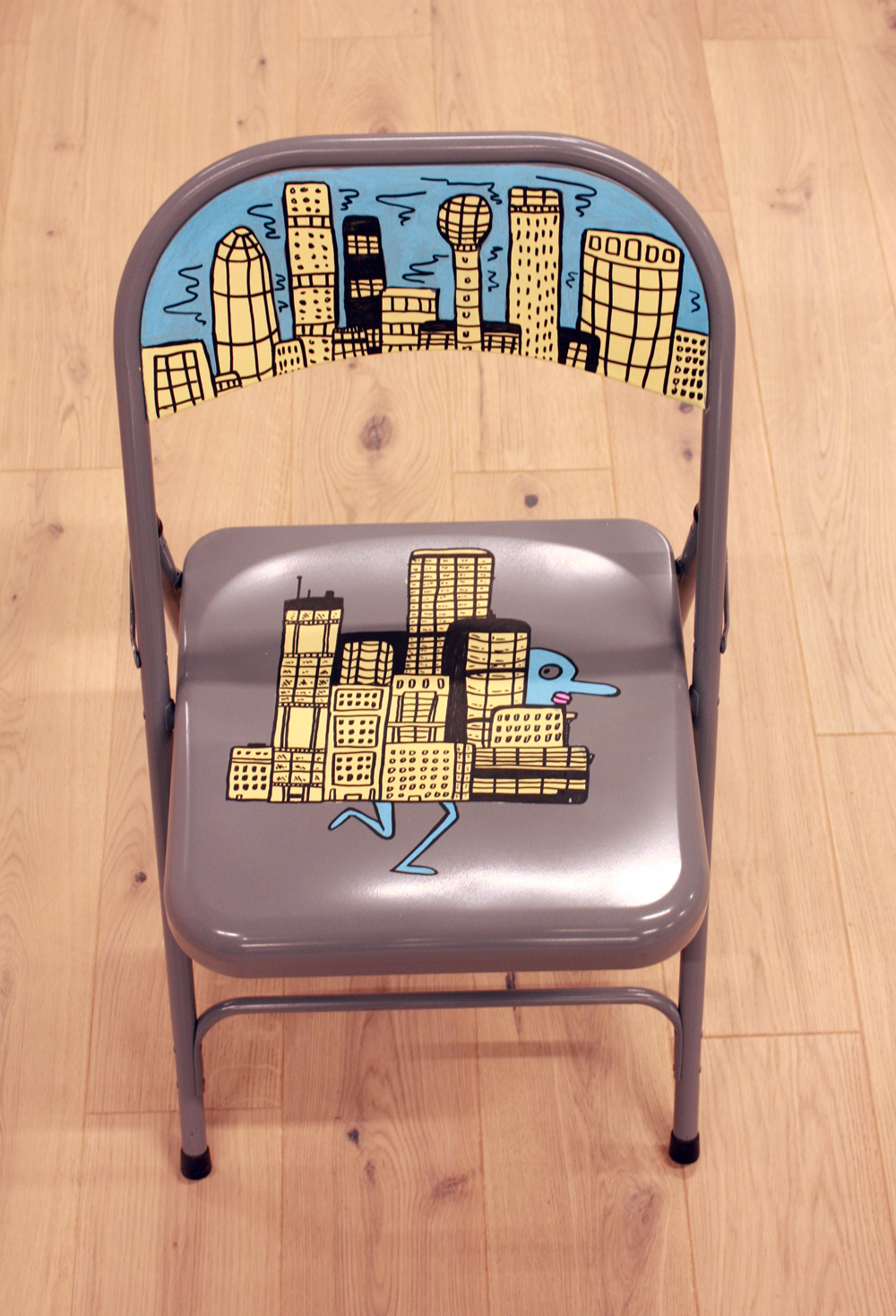 chair doodle, doodles, painting on objects, city