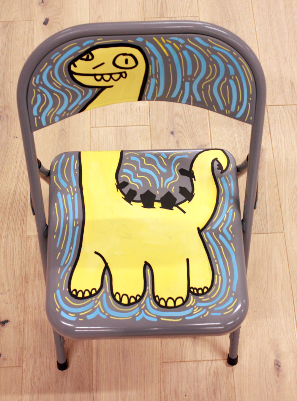 dino, dinosaur doodle, painting on chair