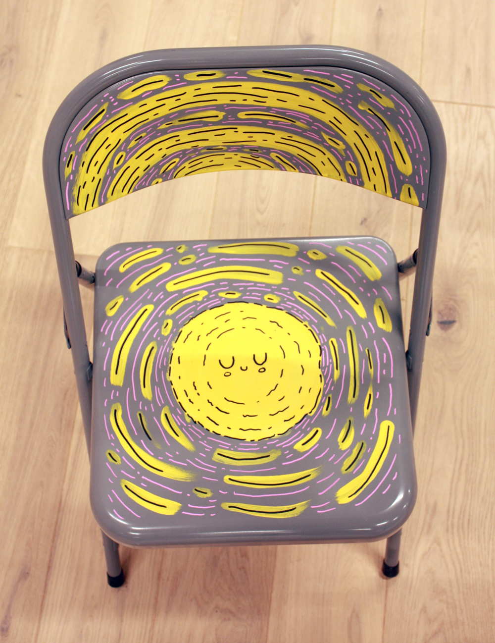 doodle, sun, yellow, painting, chair