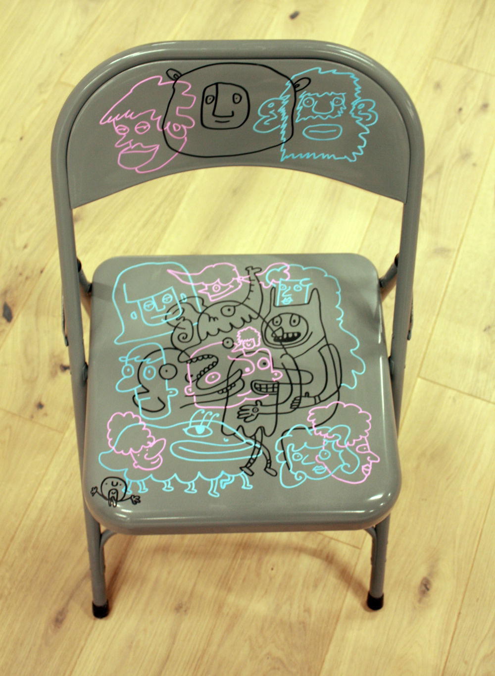 layered doodle, chairs, people