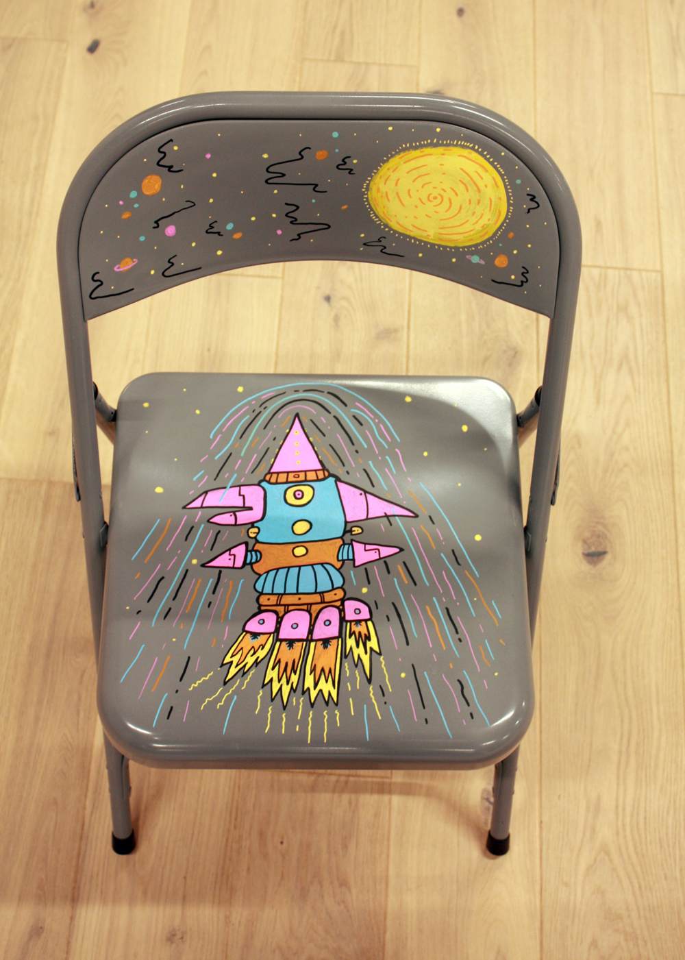 rocketship, doodles, chair drawing