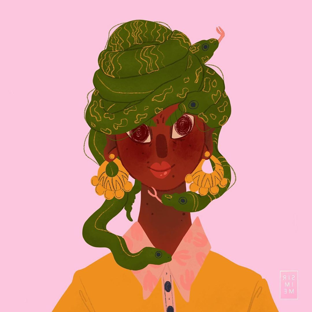 Curly Hair With snake Illustration Character Art
