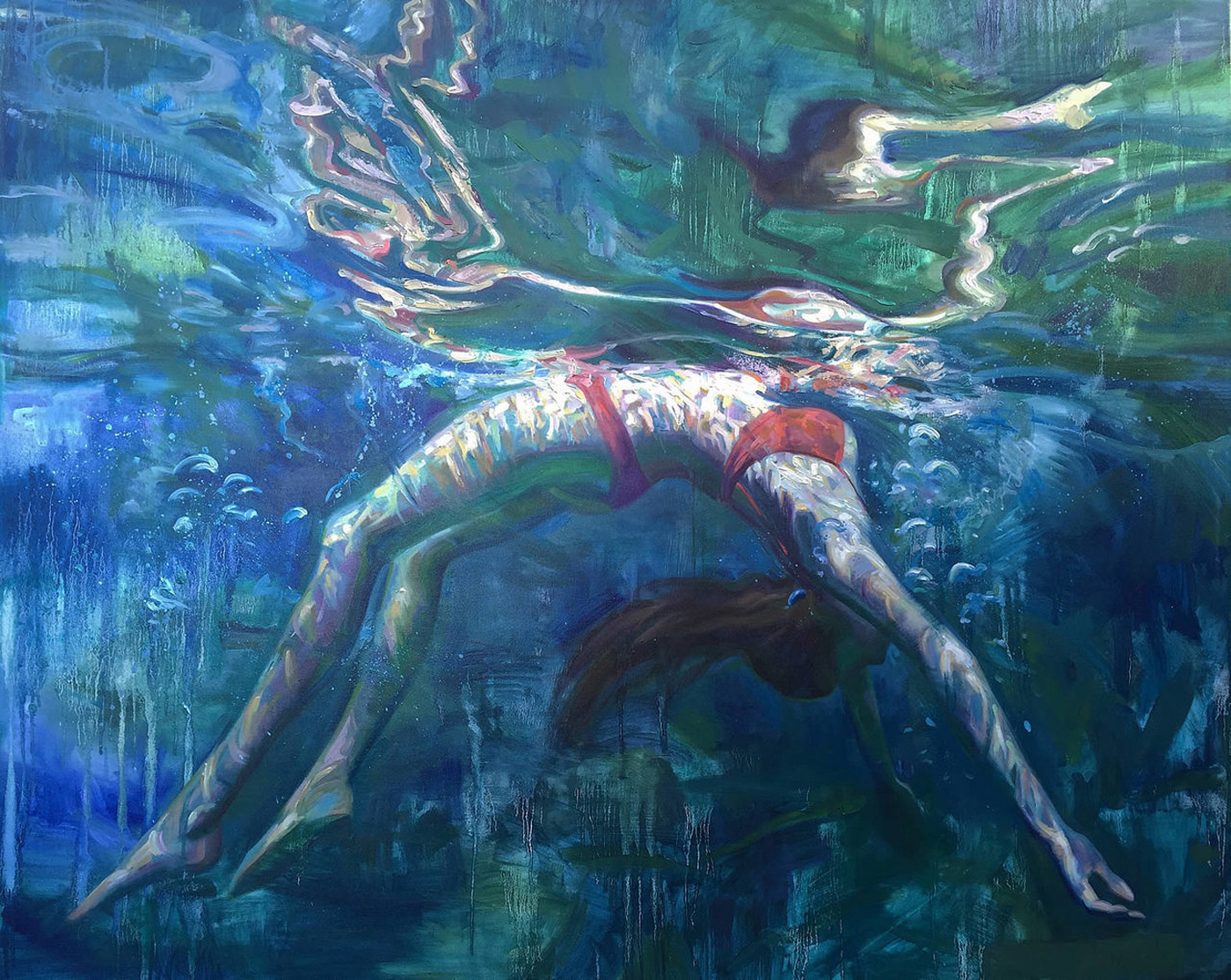 Oil Painting of Girl Balanced Weight Under Water