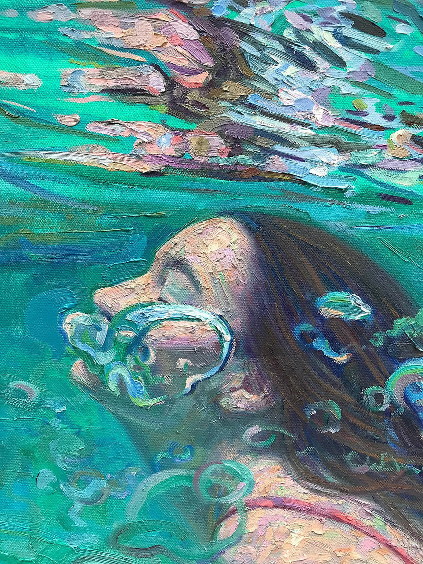 Oil Painting Of Endure Girl Under Water On Canvas