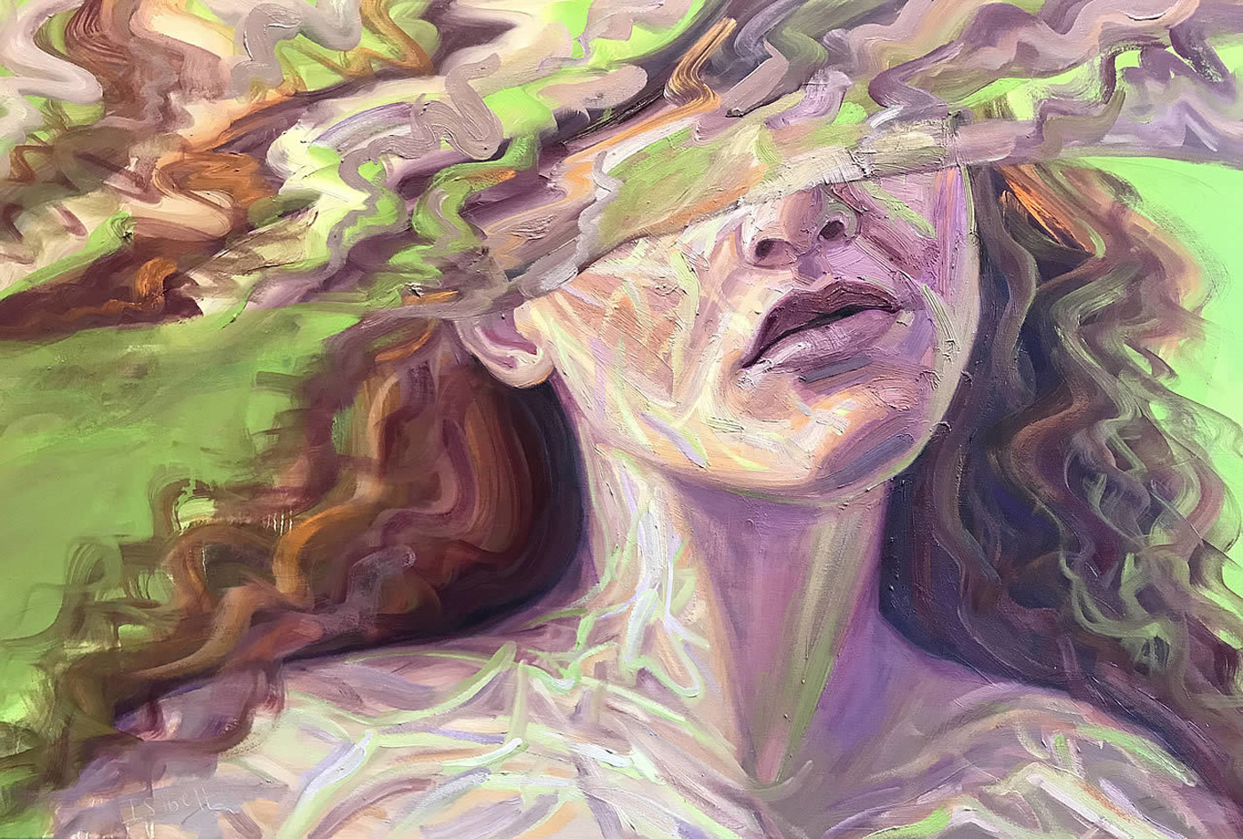 Oil Painting of Woman Submerged In Water Self Trust On Canvas