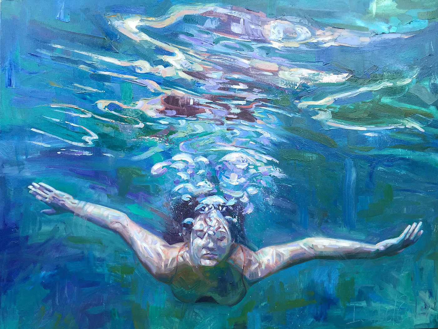 Oil Painting of Girl Swimming Under Water On Canvas