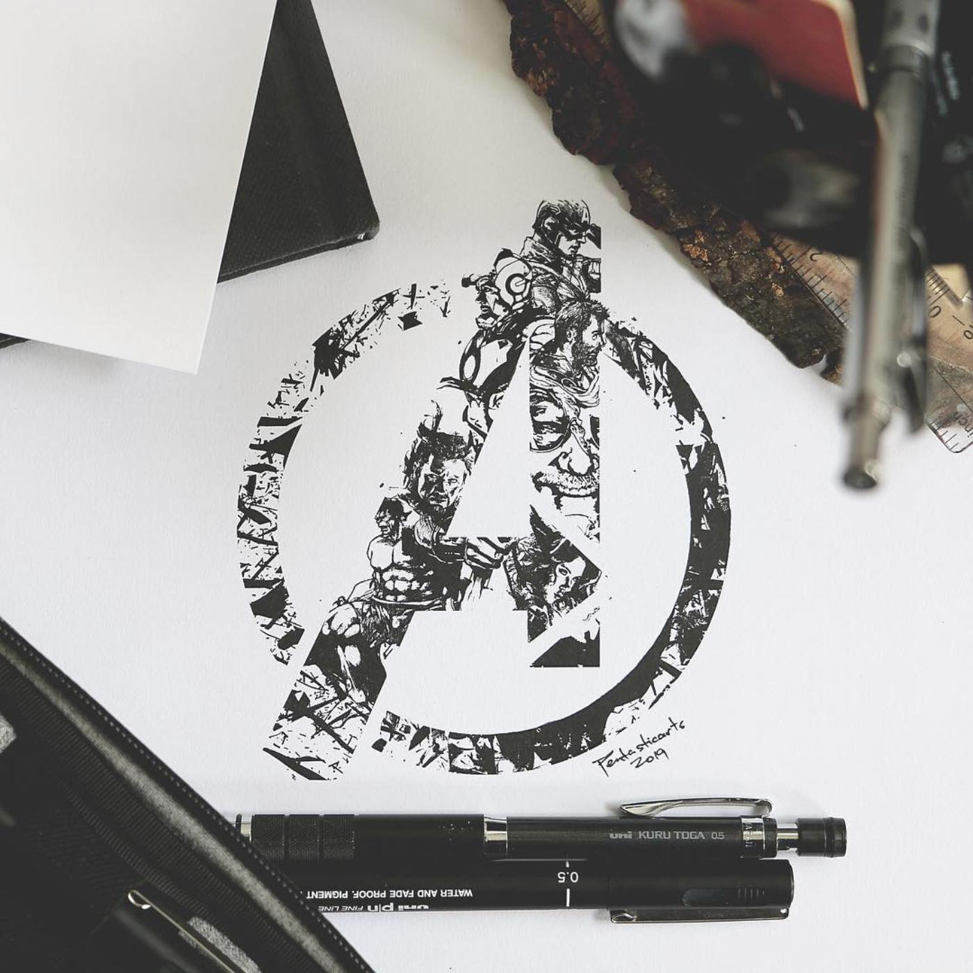 Pencil Sketch Of Avengers Logo