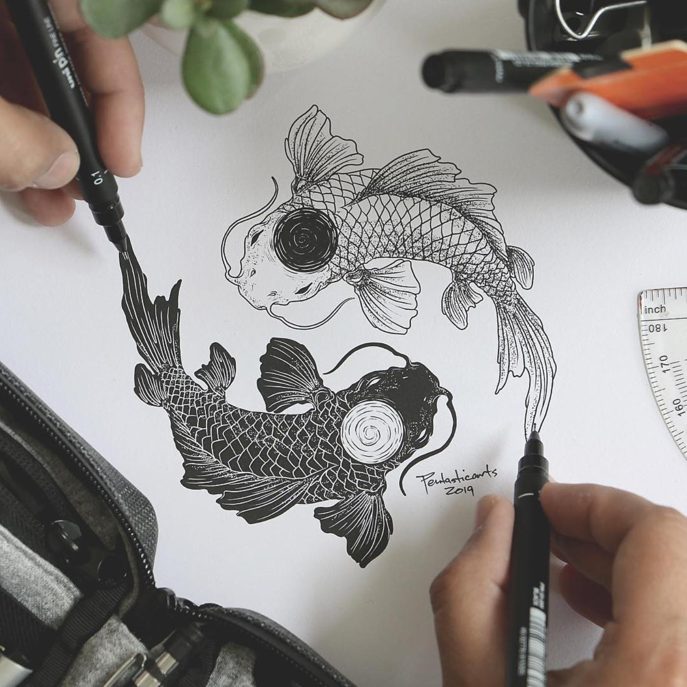 Pencil Sketch Of Two Fish