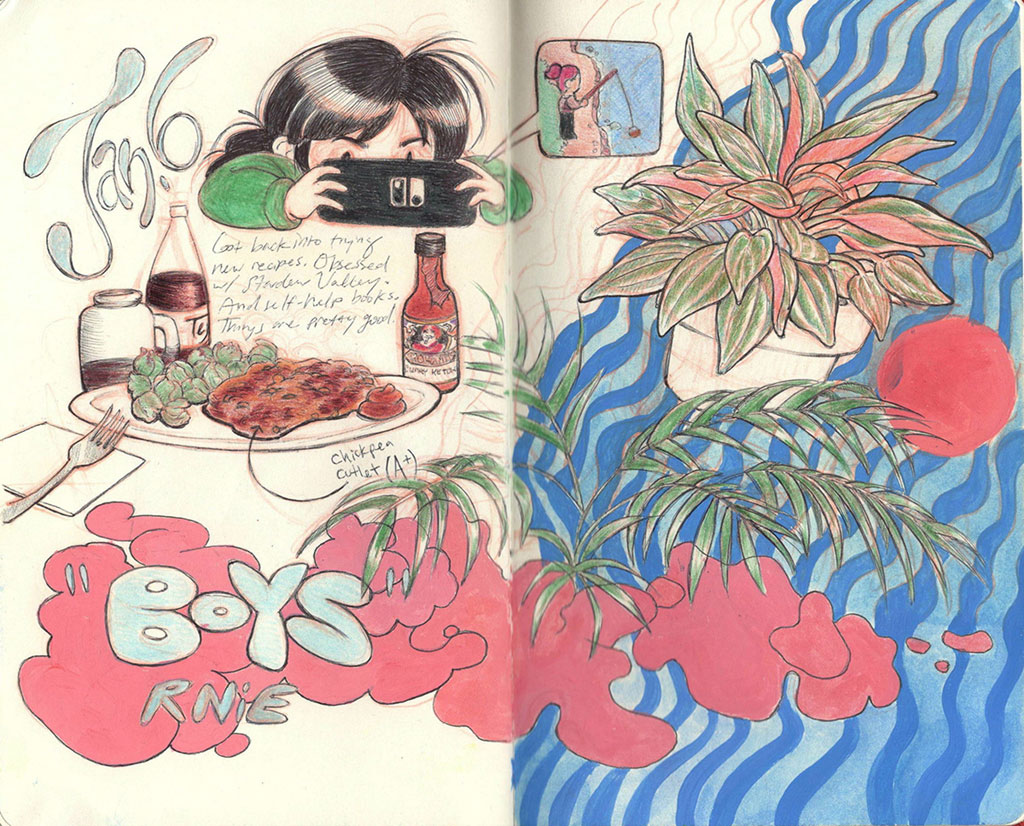 Two Page Sketchbook Spread with Various Illustrations