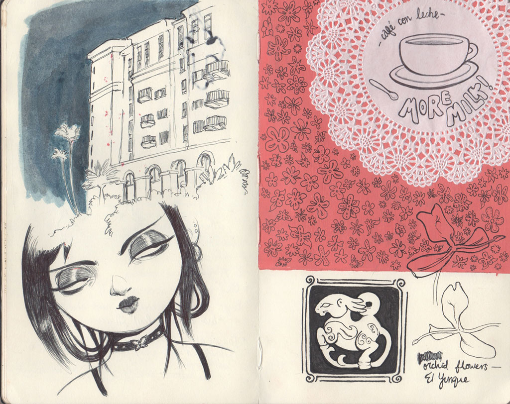 Another two page sketchbook spread showcasing various illustrations