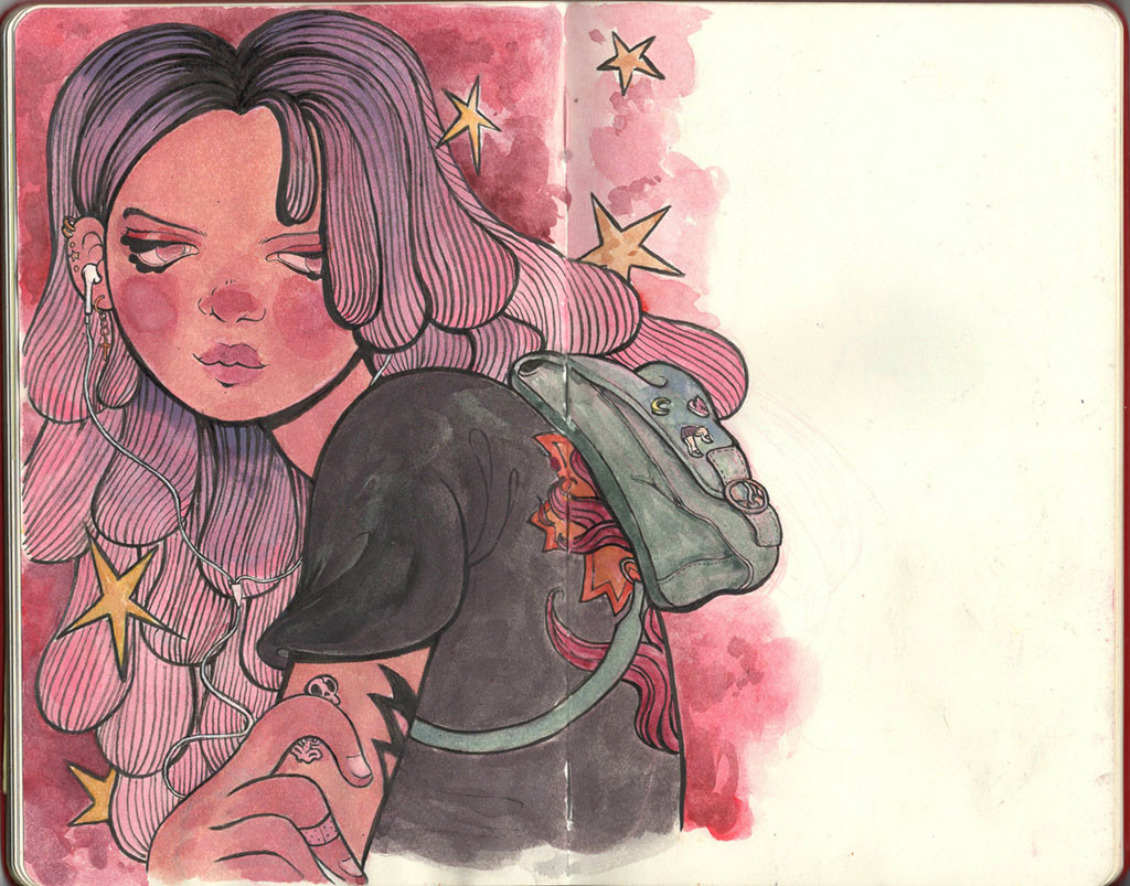 Illustration of Girl with Purple Hair with a Backpack