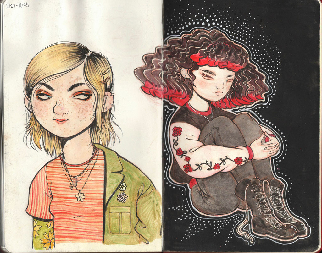 Two page sketchbook spread with illustrations of two girls