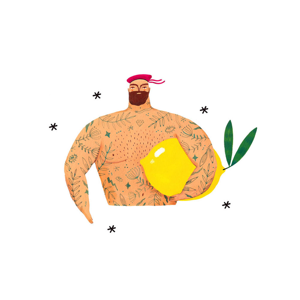 Illustration of a man wearing a beret who has tattoos and is holding a large lemon