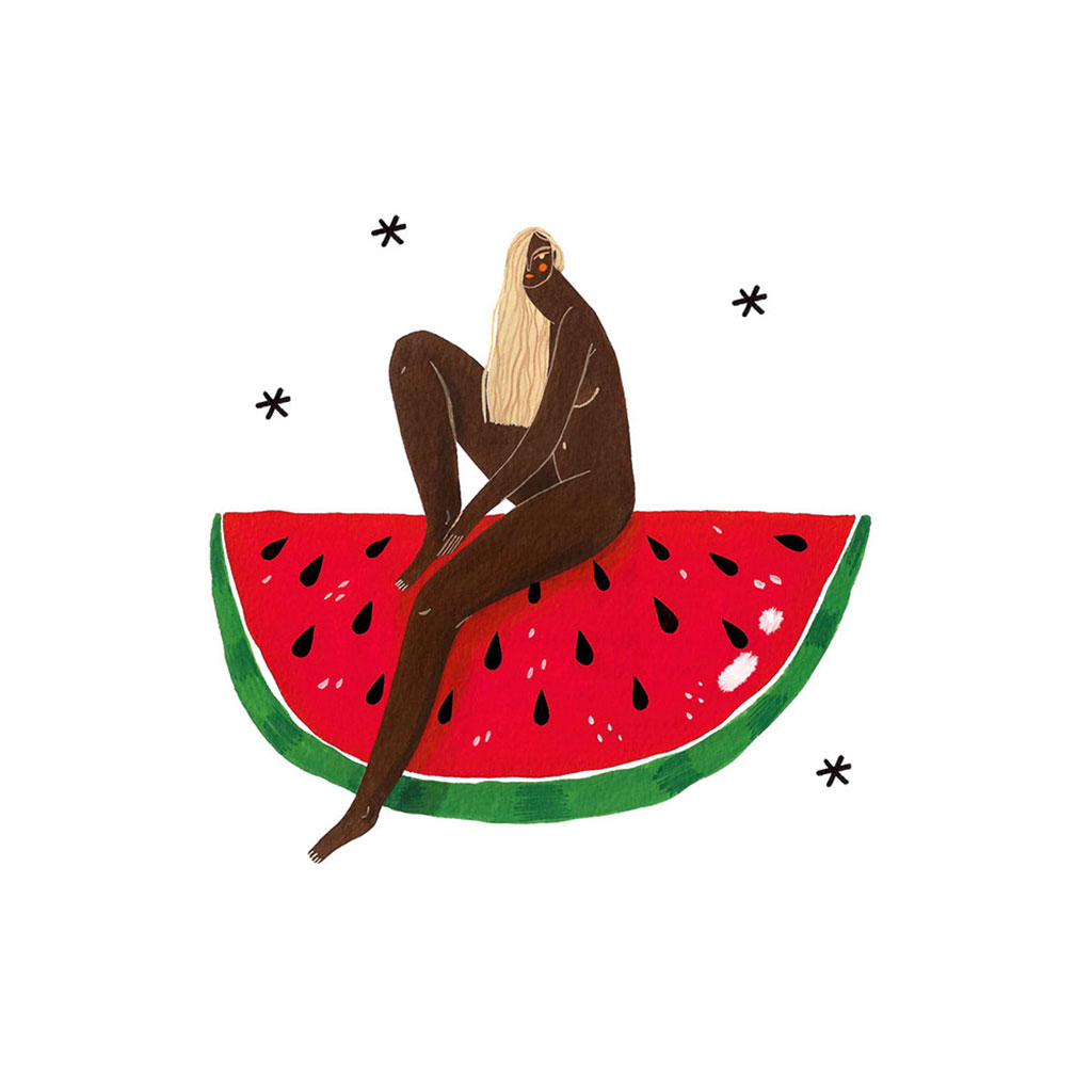 Illustration of a woman with long blonde hair sitting on top of a Watermelon