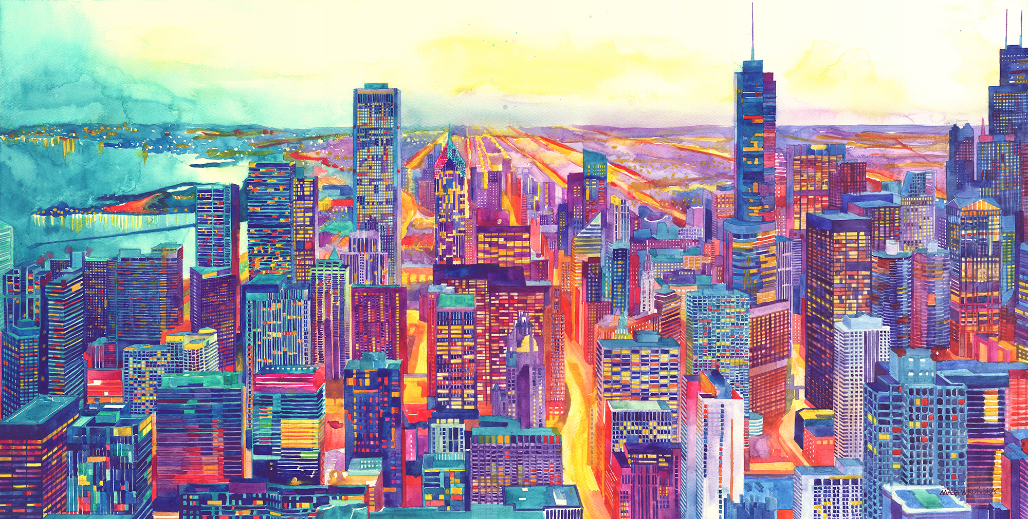 Watercolor of the city of Chicago