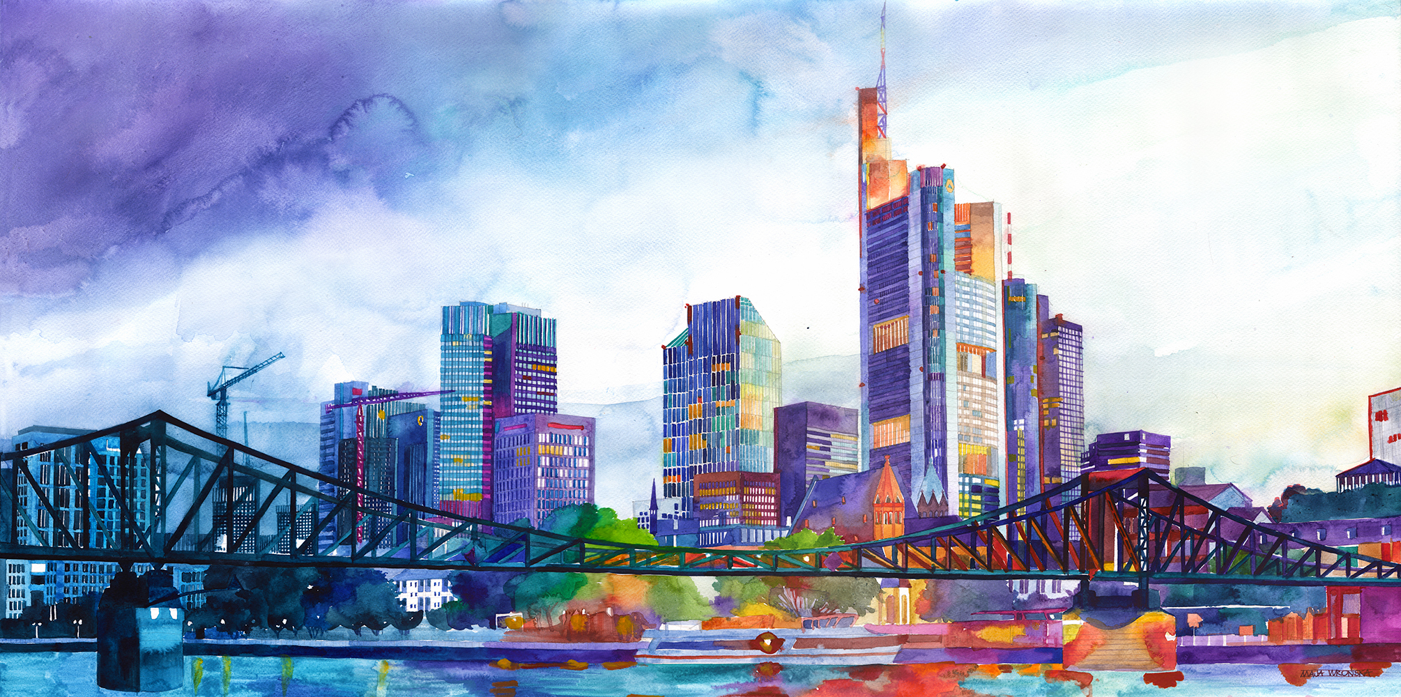 Watercolor of the Frankfurt Skyline