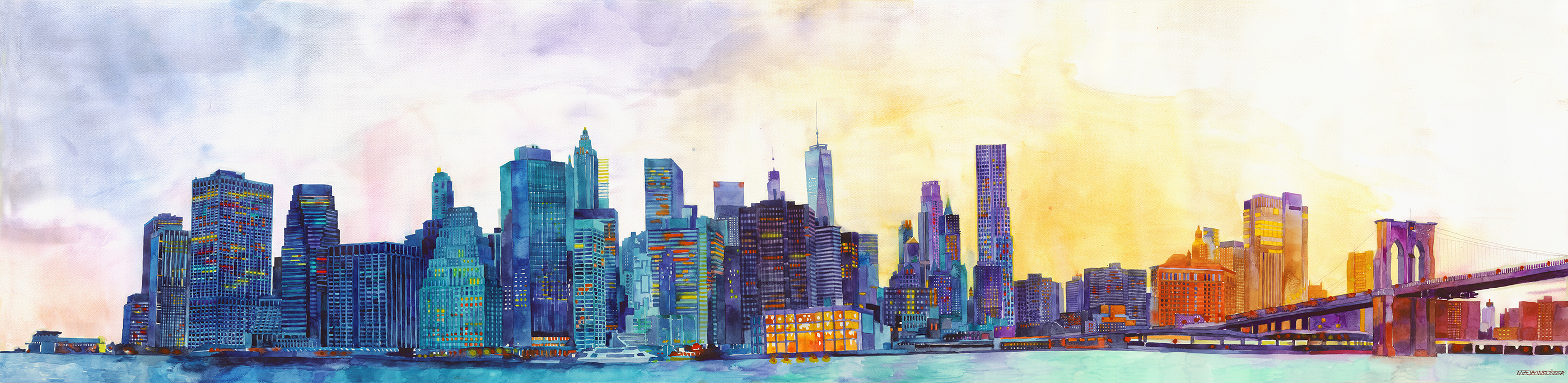 Watercolor Drawing of New York City (NYC)