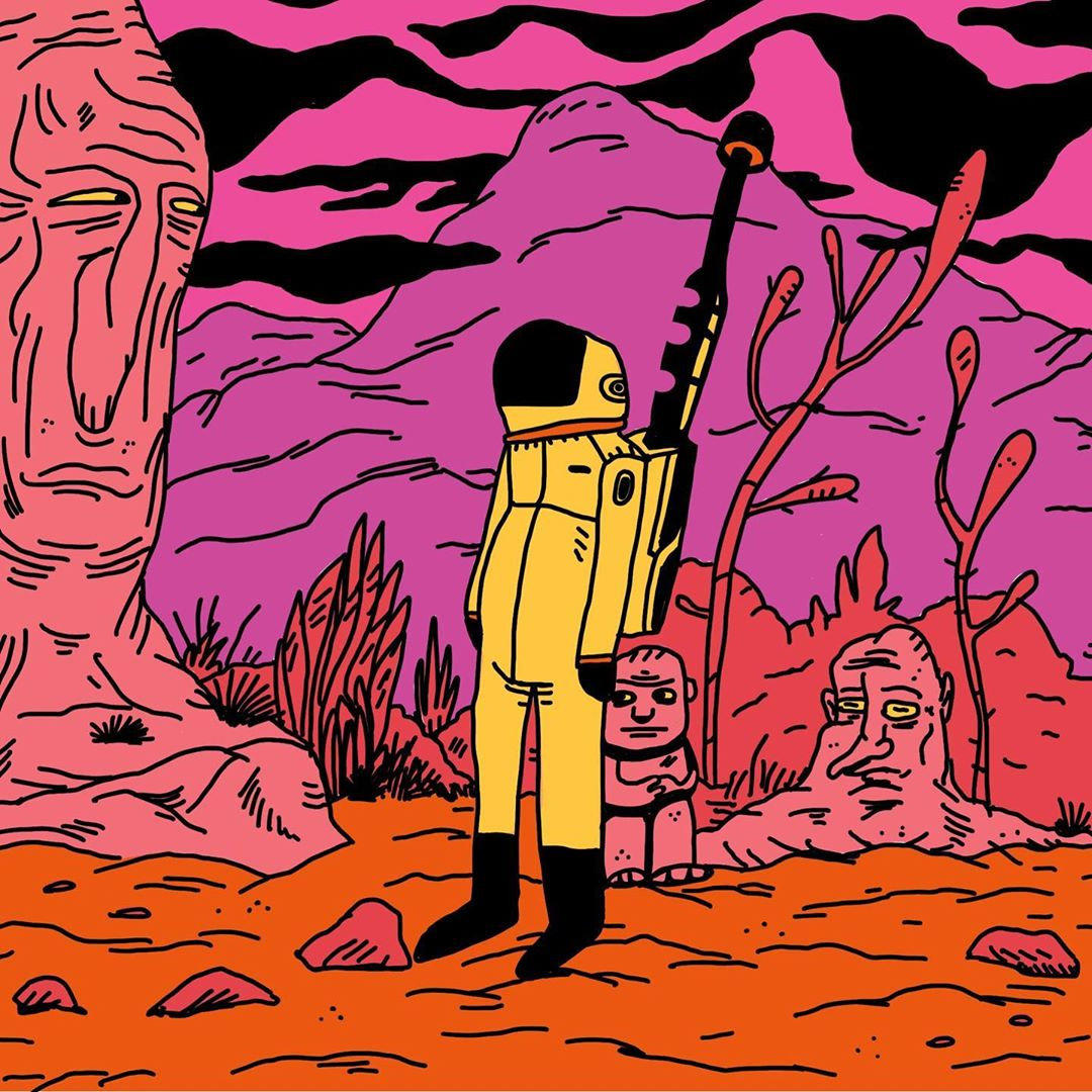 Mike Estefan Drawing of a Spaceman in an Alian World