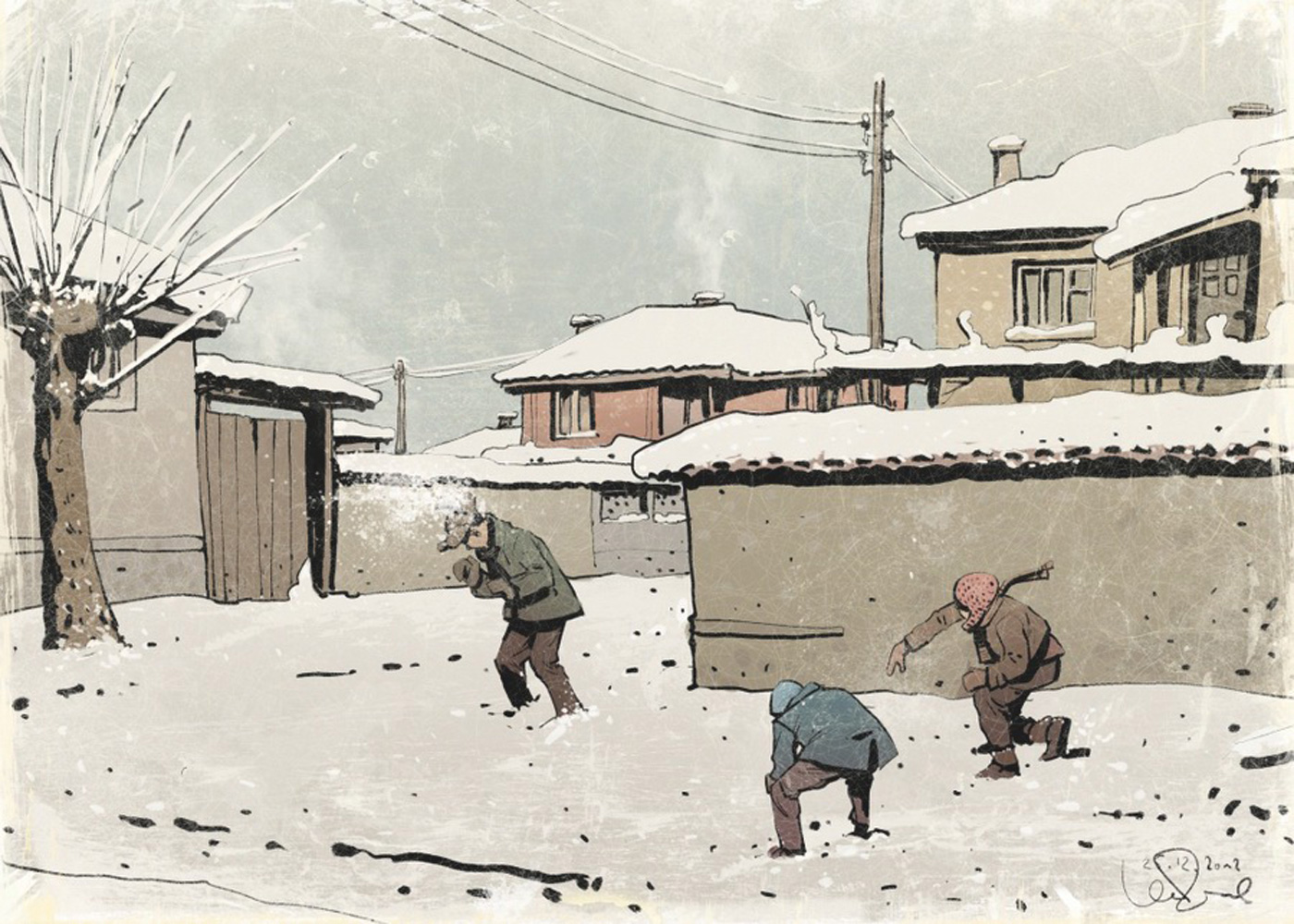 Comic Art Of Three Boys Playing With Ice In Winter