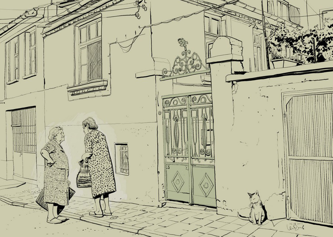Comic Art Of Two Old Woman Talking On The Street In Front Of a Old House
