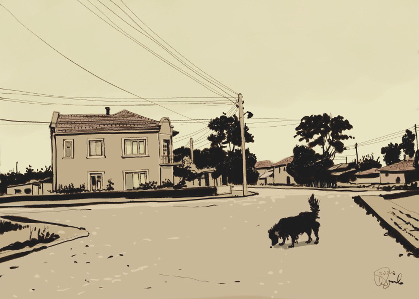 Comic Art Of a Black Dog Roaming On Village Street