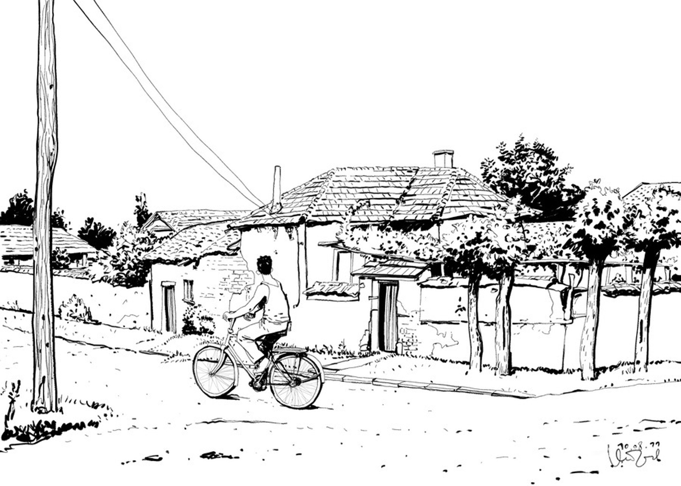 Comic Art Of a Boy Cycling In Village Street