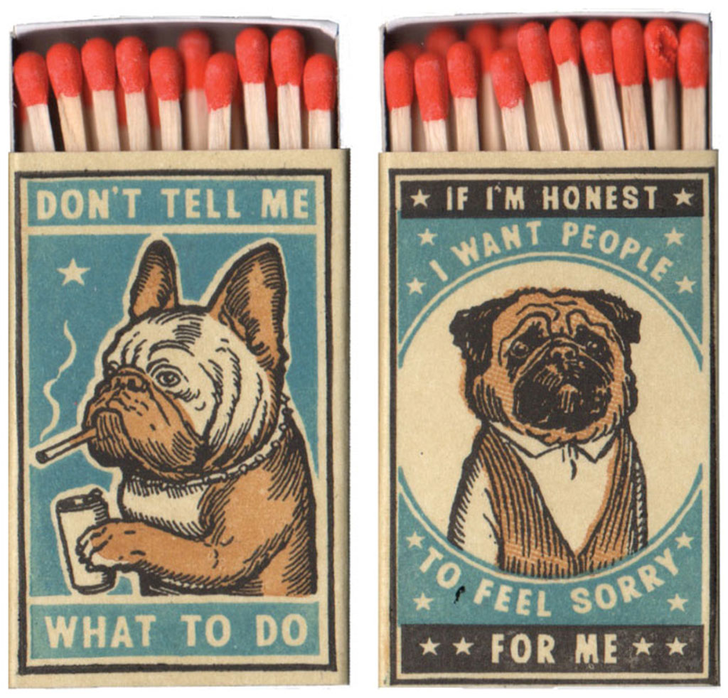 Close-up View of Two Matchbox Bulldog and Pug Prints