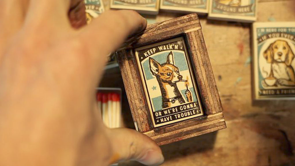 Process Photo of Chihuahua Matchbox Print Being Framed and Created