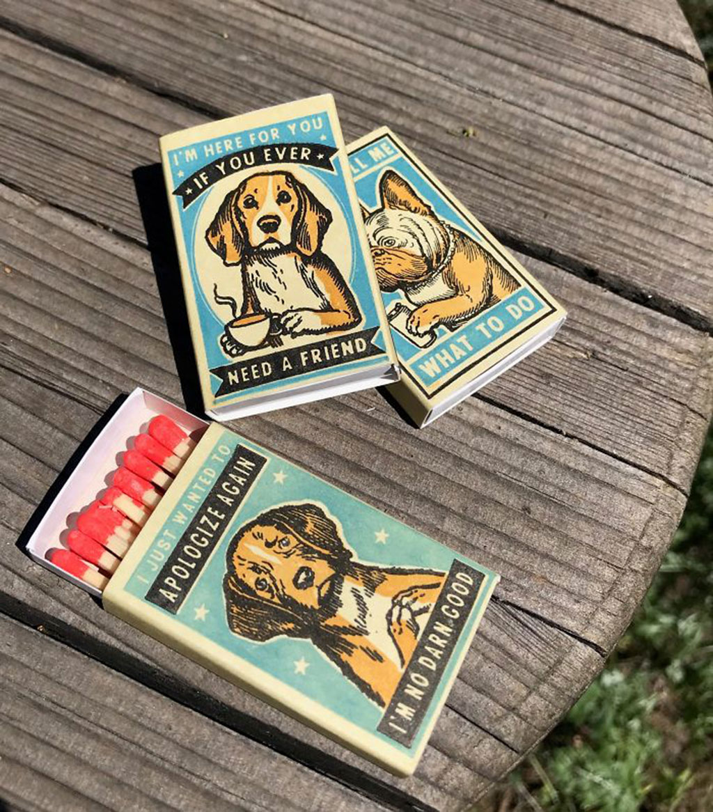 Oil-based Woodblock Print of Dogs on Matchbox