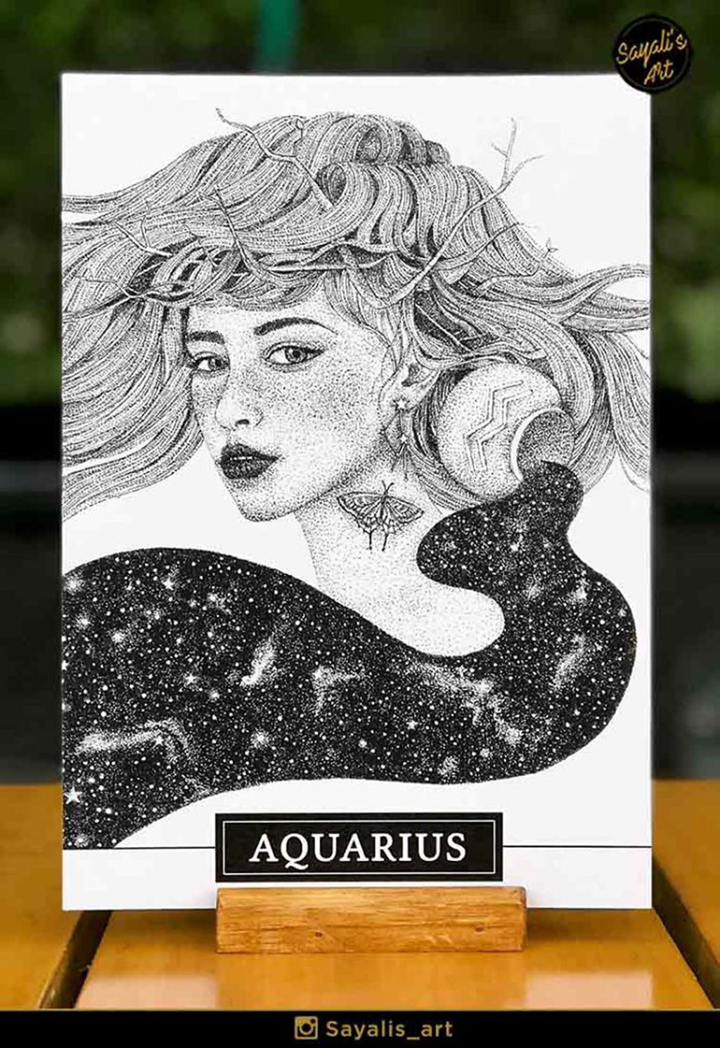 Stippled Drawing of an Aquarius Woman