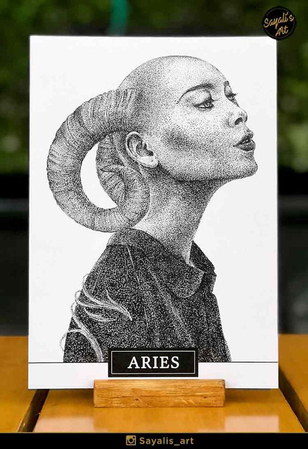Stippled Drawing of an Aries Woman with Ram Horns