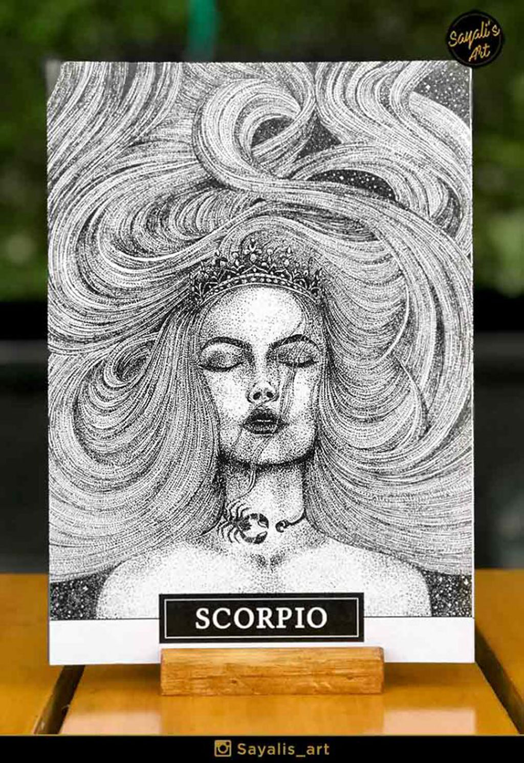Stippled Drawing of a Scorpio Woman with a Crown and Scorpion Necklace