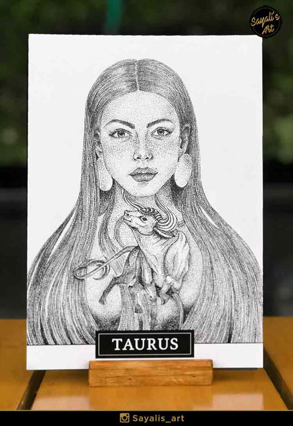 Stippled Drawing of a Taurus Woman with a Bull