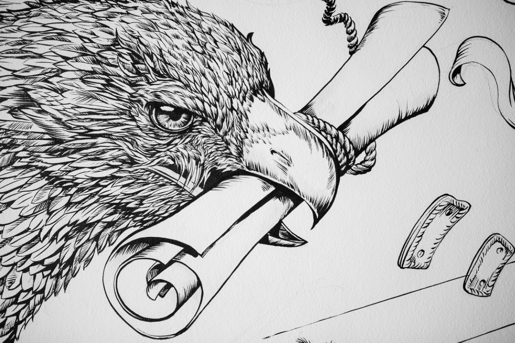 eagle detail, posca markers, big mural