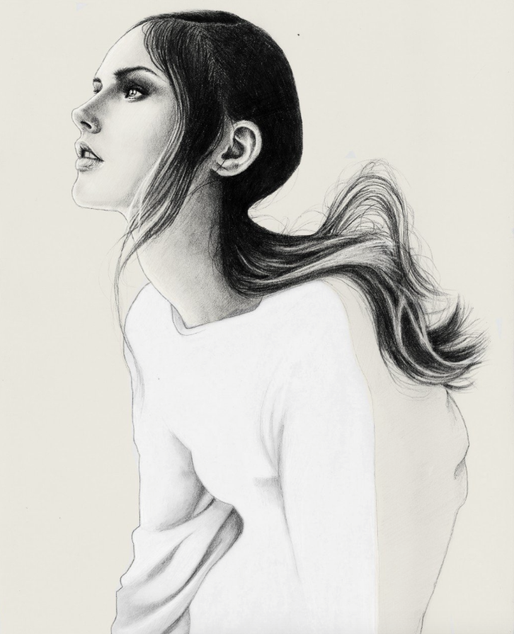 photorealism, tan paper, off white, drawing, women, soft