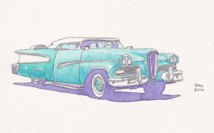 car drawing, blue, old fashioned, car, vintage