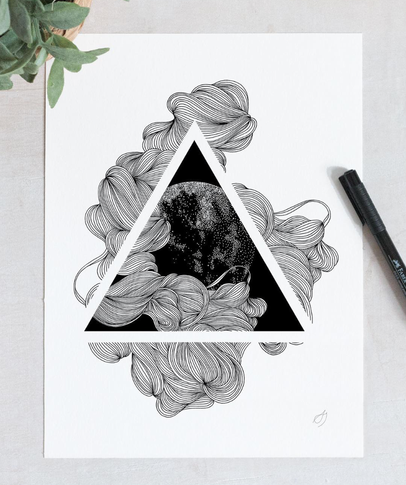 negative space, triangle, drawing, black