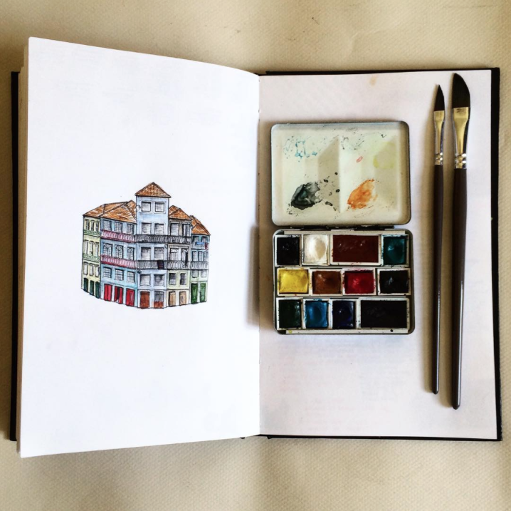 architecture, watercolor, notebook