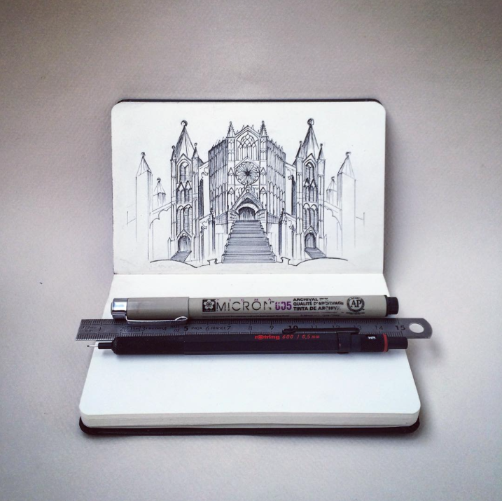 micron, church, sketch