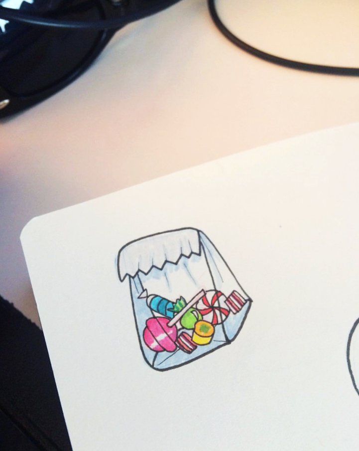 candy drawing, candy doodle, bag of candy sketch