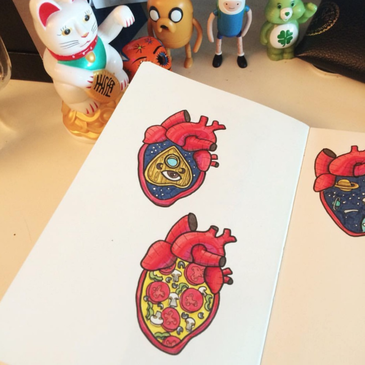heart drawing, sticker drawing, heart doodle, ouija drawing