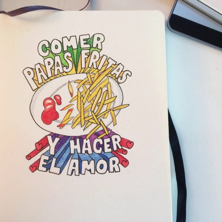 french fries drawing, fries doodle, food and typography