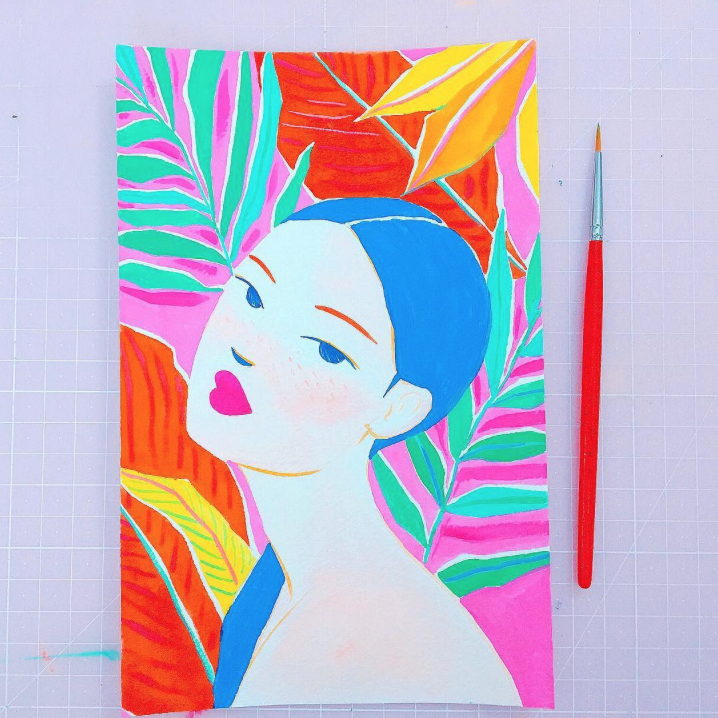 bright gouache, tropical painting, gouache portrait, holbein paints