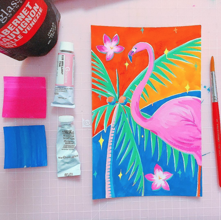 holbein brilliant pink, paint brush, flamingo painting