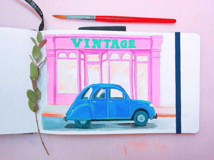 vintage painting, old car illustration, pink gouache