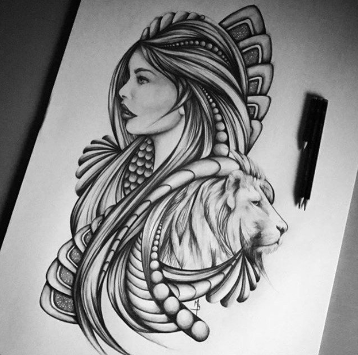 drawing, movement, woman and lion, man and beast doodle
