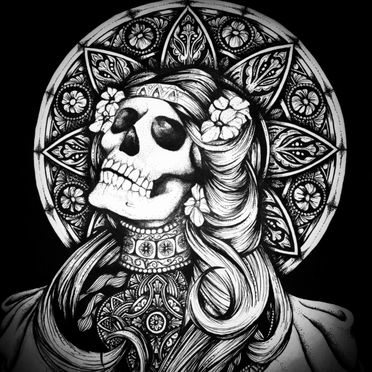 skeleton drawing, how to draw skeletons, beautiful death drawing, skulls and flowers doodle