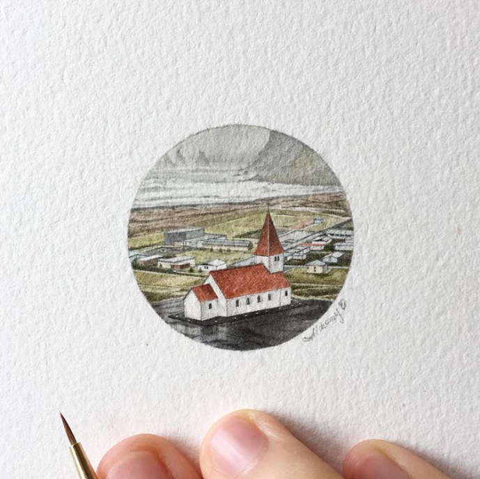 church painting, gouache, small landscape